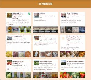 Les producteurs présents sur le site internet de la Ruche de Cambrai (photo site « Ruche qui dit oui »).